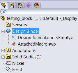 Attach macro to Design Binder