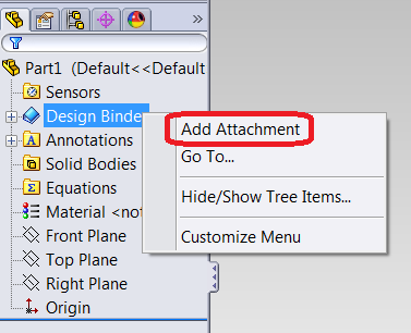 Add attachment to Design Binder